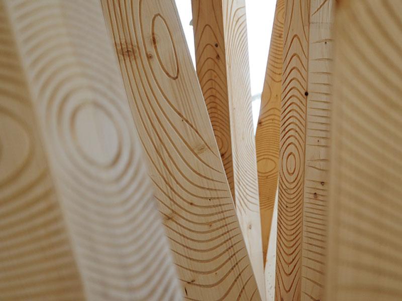 digitally carved wood beams