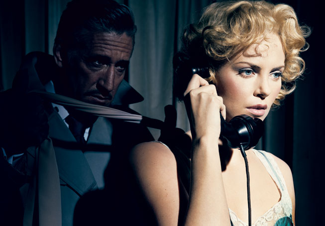 Charlize Theron recreates a scene from Dial M for Murder. Photograph by Norman Jean Roy.