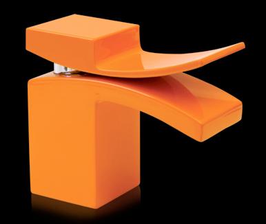 M faucet in orange