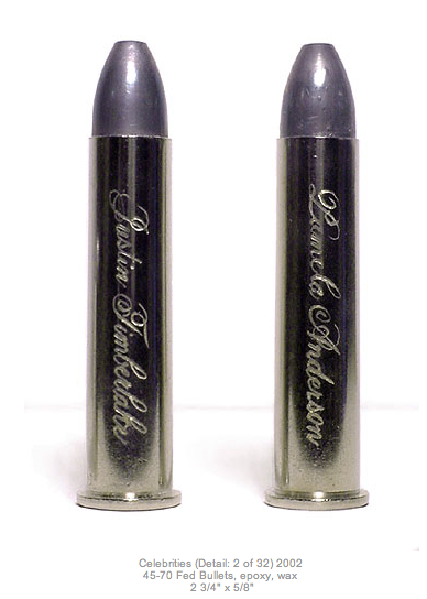 Bullets engraved with the names of Justin Timberlake and Pamela Anderson