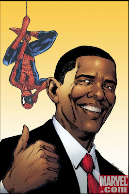 special variant cover in the second printing of the comic by artist Phil Jimenez featuring the President-Elect and Spider-Man