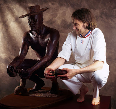 Patrick Roger with his chocolate sculpture, Harold.