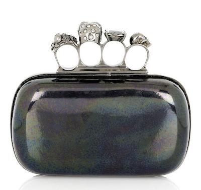 black patent alexander mcqueen knuckle duster clutch purse