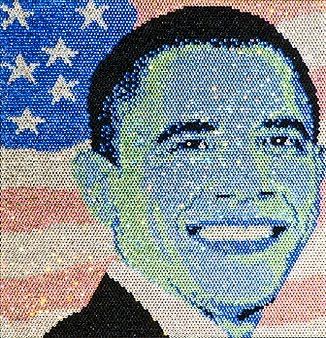 barack obama portrait made of gems