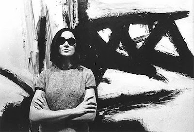 Gallery owner Virgina Dawn, in front of a Franz Kline painting, 1962:
