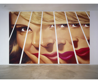 Hopper's Fractured Girl billboard as large scale oil painting, 2000