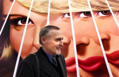 """Dennis Hopper in front of his 2000 painting of his 1964 photo """"Fractured Girl"""""""