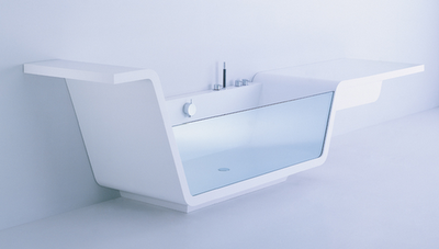 Ebb glass and Corian tubs by Us Together