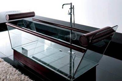 glass and leather bathtub