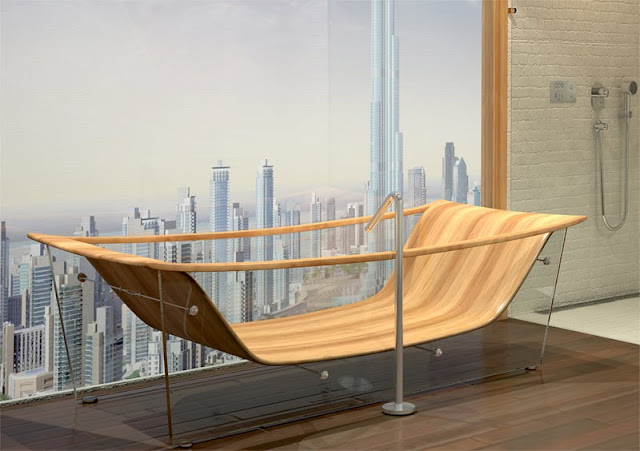 Bagno Sasso wood and glass tub