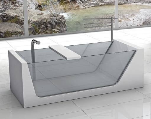 Plavis Design Avi glass and Corian bathtub
