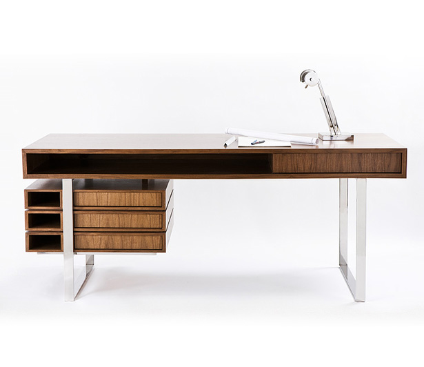 I M Just In Love With This Modern Walnut And Maple Wood Desk Polished Stainless Steel Legs The Design It S Floating Top Drawers Tucked