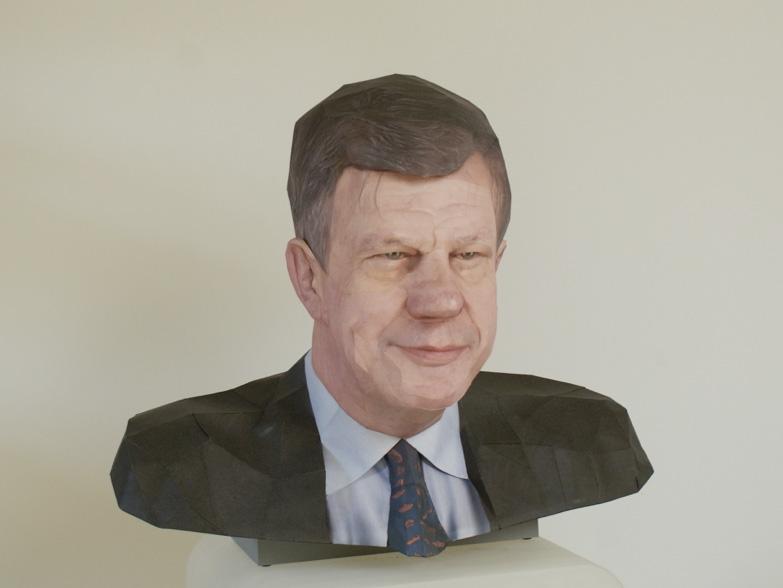 Mr. Ivo Opstelten, 2008, paper sculpture by Bert Simons