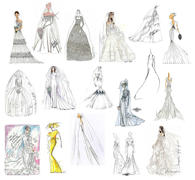 sketches of wedding gowns for kate middleton