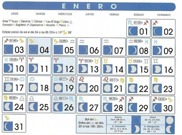 Calendario Esoterico.Oceano Esoterico Calendario Lunar Astrologico Enero 2011
