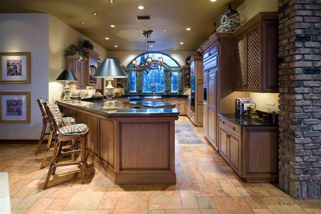 mediterranean villa island kitchen design