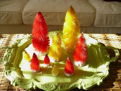 bottle brush trees dyed with Rit
