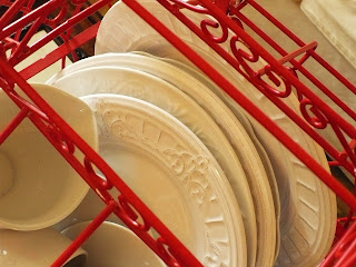 red and white objects