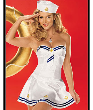98ffc09e98a Size  One size. Description Strapless satin bustier is accented with blue  ribbon trim and faux tie with anchor embroidery