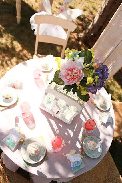 tea party tablescape top view