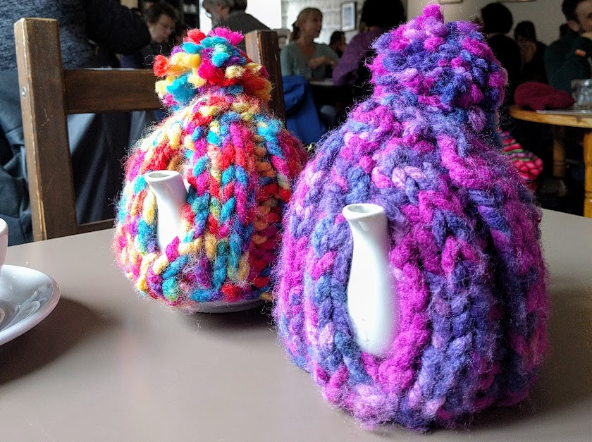 Knitted tea cosies at the Warehouse Cafe in Birmingham