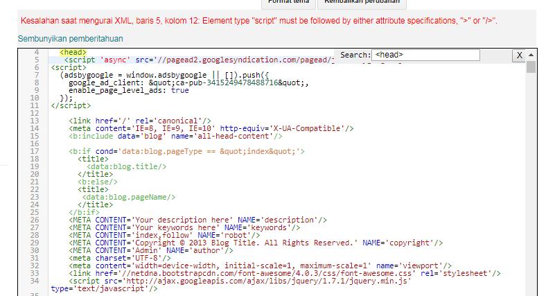 Masalah saat memasang kode Adsense