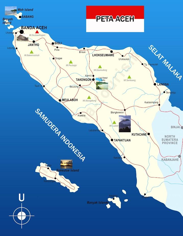 Gambar Peta Aceh lengkap dengan nama provinsi dan kota