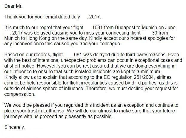 某航空公司的拒絕理賠回復