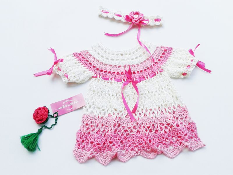 Crochet Baby Dress, Dress Rajut Bayi, Blocking Rajutan, Blocking pada Rajutan, manfaat blocking rajutan, belajar merajut, cara blocking rajutan