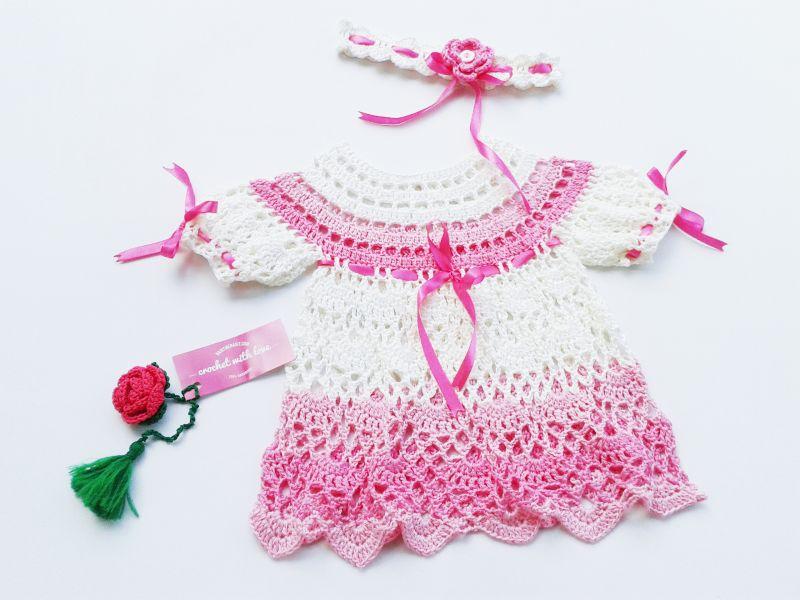 Crochet Baby Dress, Dress Rajut Bayi, Blocking Rajutan, Blocking pada Rajutan, manfaat blocking rajutan, belajar merajut, cara blocking rajutan