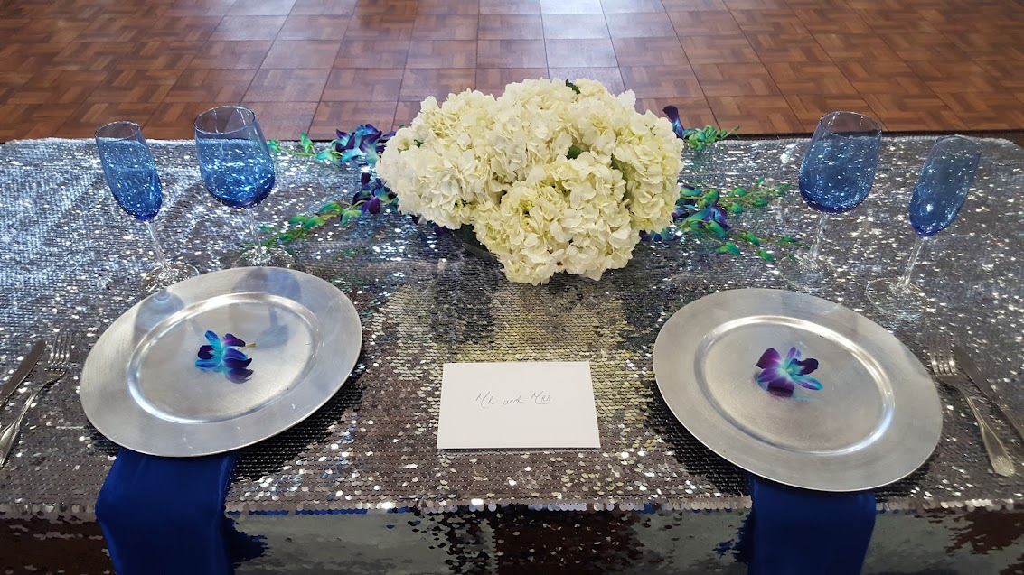 Linen Table Cover, Sequin table cover