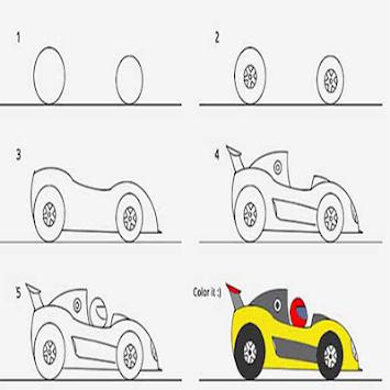 Cara Menggambar Mobil Balap dengan tampak dari samping