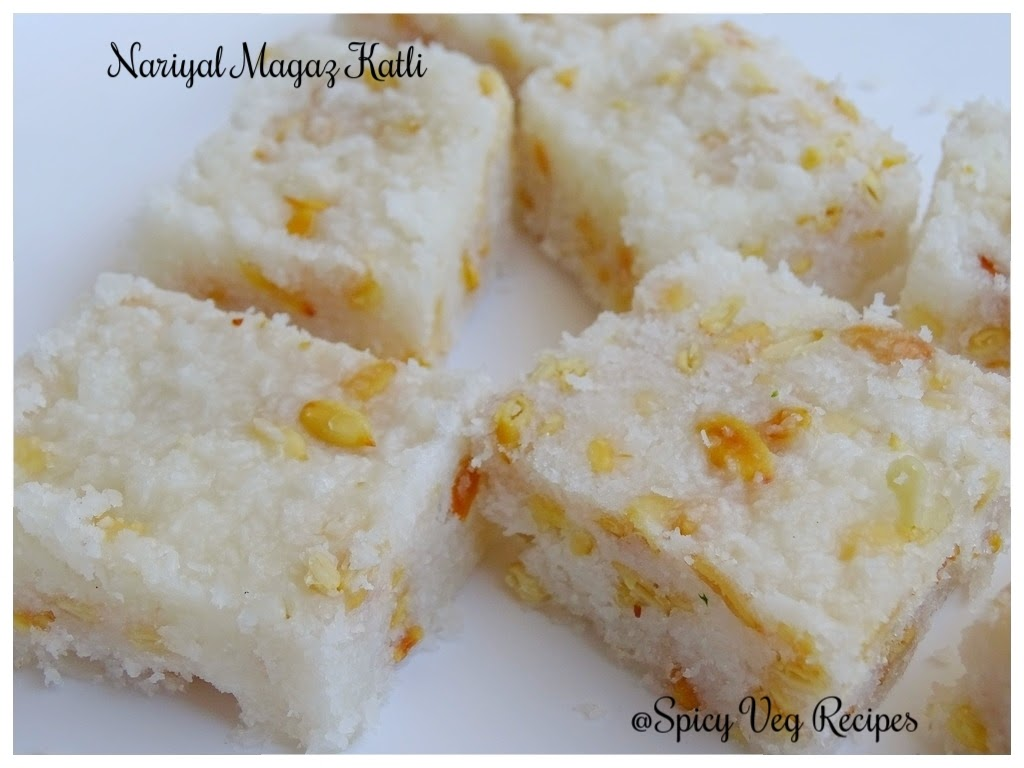 Nariyal Magaz Katli- Coconut and melon seeds Katli-easy Katli Recipe