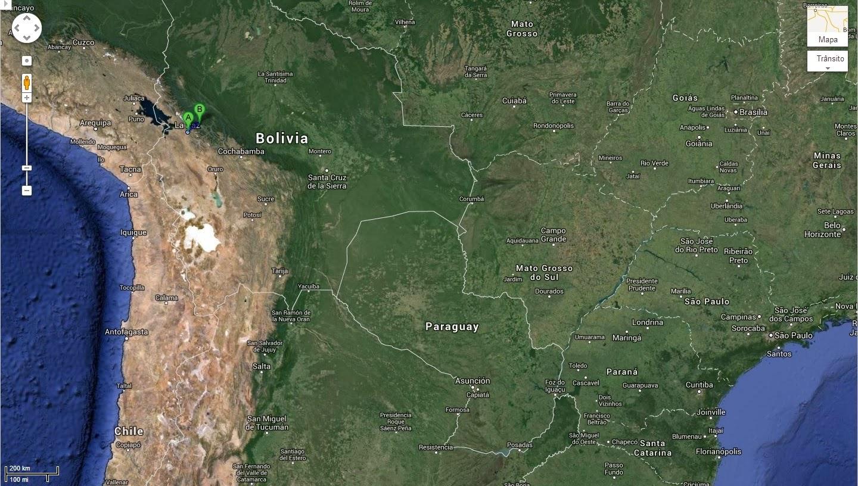 Trajeto de La Paz / Bolívia a Coroico / Bolívia.