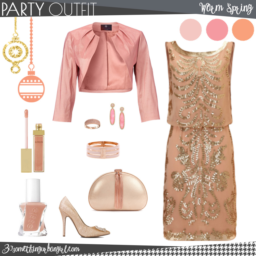 Pretty holiday party outfit for Warm Spring seasonal color women