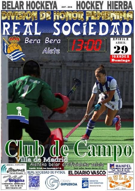 Cartel hockey 2018-04-29 Real Sociedad - Club de Campo.