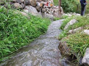 Fresh water stream flowing through the Dah village Ladakh