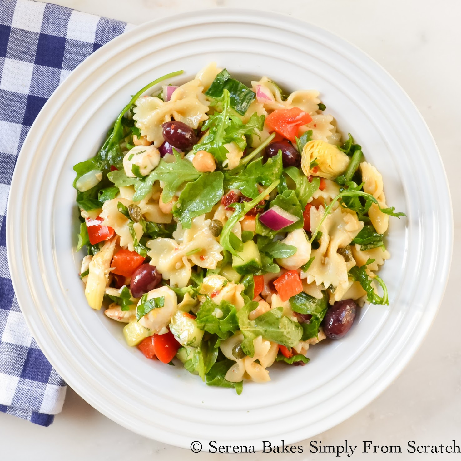 Mediterranean Pasta Salad is easy to make and a delicious meatless meal!