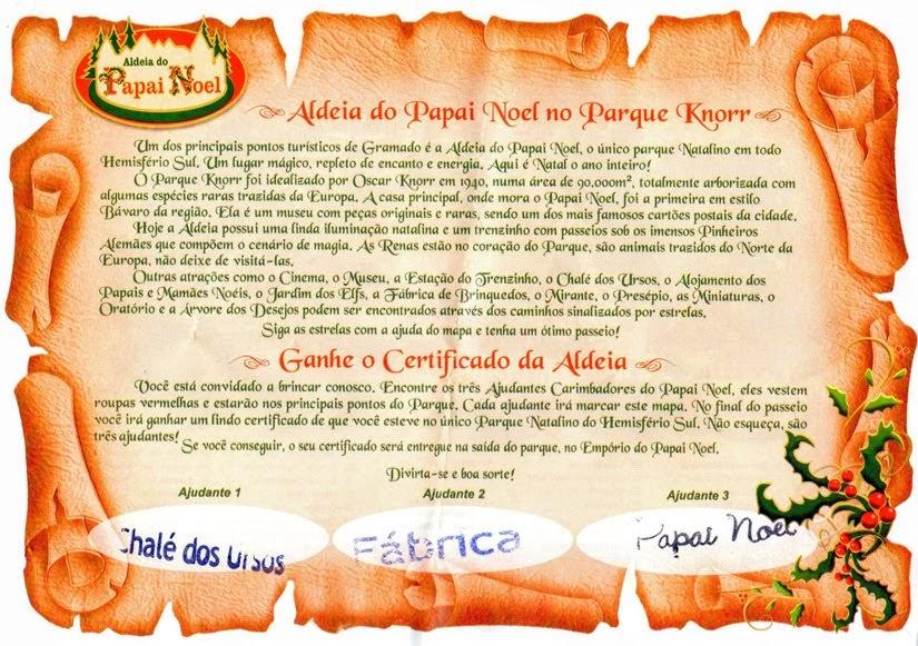 Certificado de visita à Aldeia do Papai Noel de Gramado